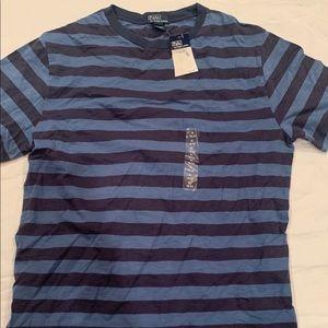Blue and black polo shirt